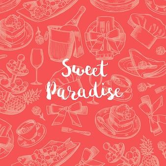 ベクトルバナーとポスター手描きのレストランやルームサービスの要素の背景、テキストイラストのための場所