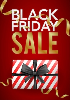 Vector banner black friday template with red striped box with black ribbon.