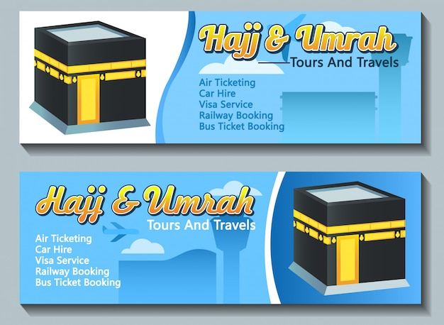 Vector banner design of hajj umrah pilgrim travel advertising.