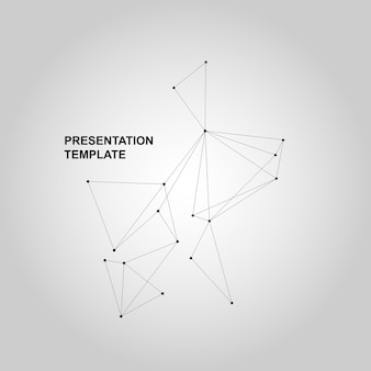 Vector banner design with geometric connected lines and dots.
