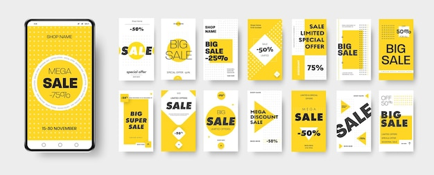 Vector banner of discounts and mega sales on social media and stories template with yello