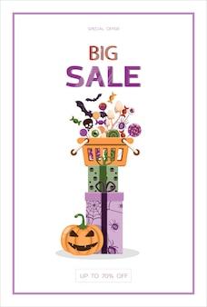 Векторный баннер для хэллоуина мультфильм шаблон дизайна для приглашения на вечеринку по продаже рекламы