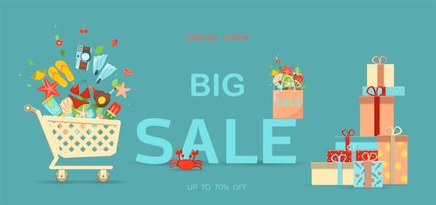 Векторный баннер для летней распродажи плоской иллюстрации шаблона скидок горячие летние распродажи