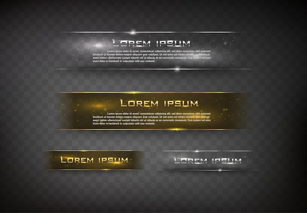 Vector banner glossy  square for web color gold and silver Premium Vector