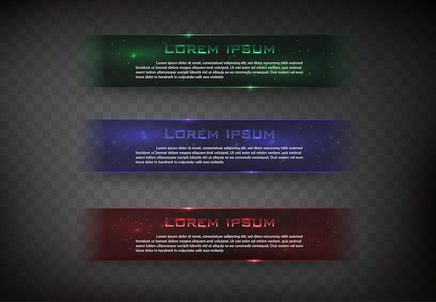 Vector banner glossy  square for web color green blue and red