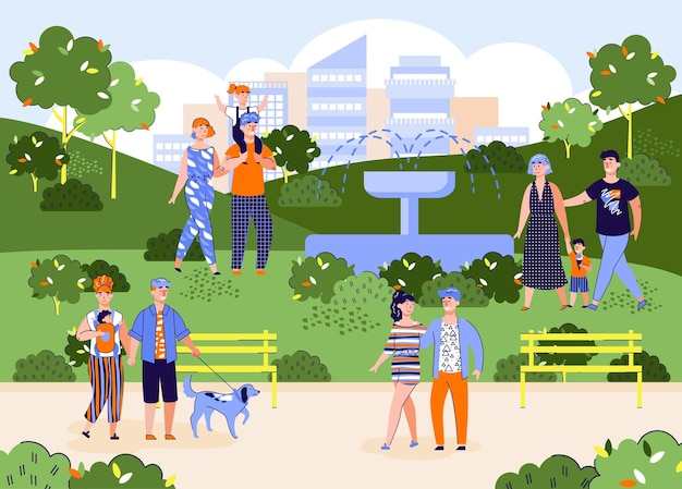 Vector banner of happy families rest in the city park on a summer or spring day