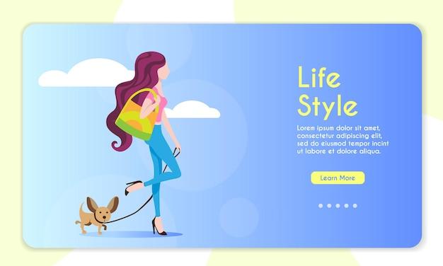 개와 함께 산책하는 긴 머리를 가진 세련된 젊은 여자의 벡터 배너 그림