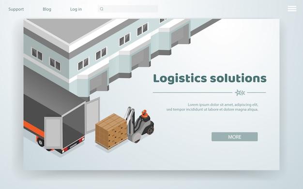 Vector banner logistic solutions cartoon flat.