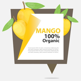 Vector banner mango 100% organic