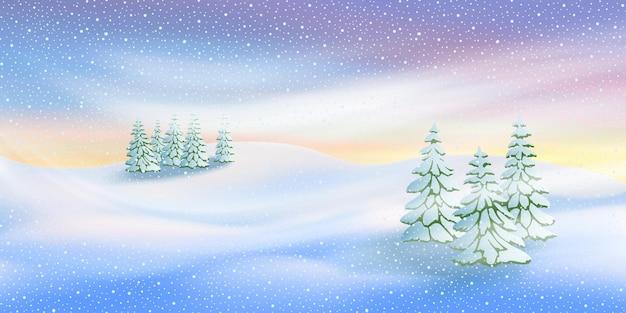 새해 테마, 일몰 빛, 눈보라, 숲, 눈보라에 대한 벡터 배너