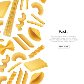 Vector banner realistic pasta types banner