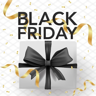 Vector banner template black friday with with box, confetti, and black ribbons