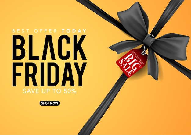 Vector banner template of black friday yellow box with black ribbons, black friday sale tags