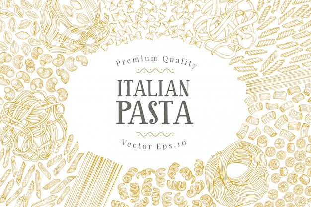 Vector banner template with different types of traditional italian pasta.