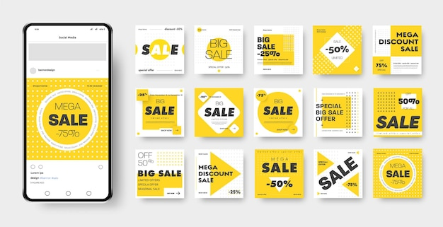 Vector banner template with yellow, black and white geometric patterns, square, circle, rhombus and cross for discounts and mega sales. post layout for advertising on social media and an online store