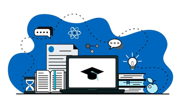Vector banner web illustration with laptop documents watch though the cap of a graduate