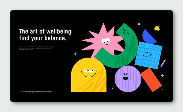 Vector banner with character geometric figures on black background cute cartoon characters