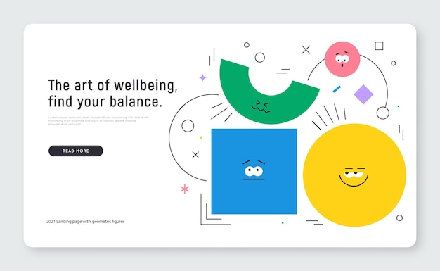 Vector banner with character geometric figures on white background