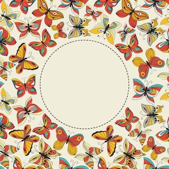 カラフルな蝶とあなたのテキストのための場所を持つベクトルバナー