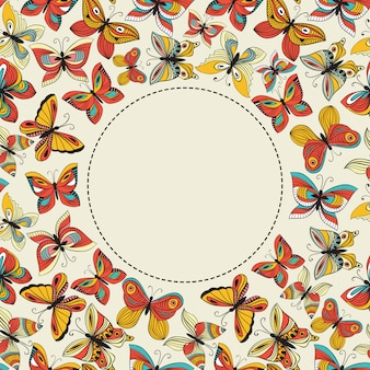 Vector banner with colorful butterflies and place for your text
