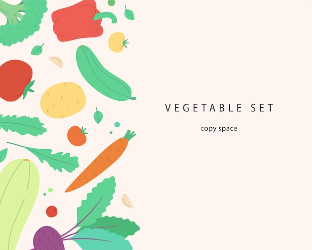 Vector banner with copy space cute vegetables and herbs modern illustration in handdrawn style