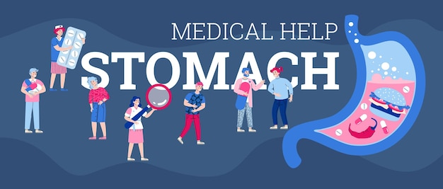 Vector banner with doctors providing medical help for people with stomach pain