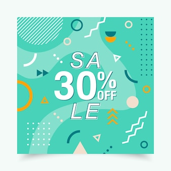 Vector banner with geometric forms lines and dots in trendy memphis style