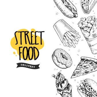 Векторный баннер с рисованной уличной еды. черно-белые иллюстрации в стиле гравюры.