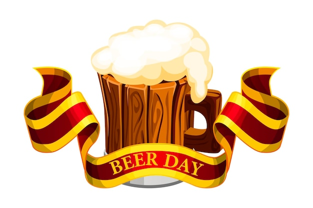 Vector banner with the inscription beer day. illustration of a beer wooden mug with a ribbon.