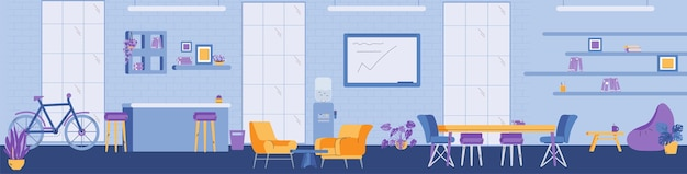 Vector banner with interior of modern coworking space for work in office