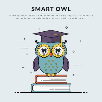 Vector banner with smart owl.