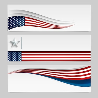 Vector banner with usa flag.