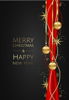 Vector banner with vector gold stars, christmas balls and space for text.