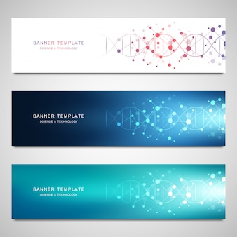 Vector banners and headers for site with dna strand and molecular structure. genetic engineering or laboratory research.