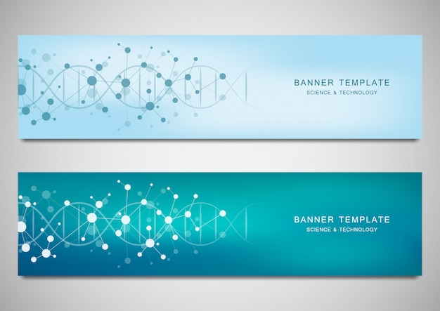 Vector banners and headers for site with dna strand and molecular structure