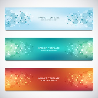 Vector banners and headers for site with molecules background and neural network. genetic engineering or laboratory research.