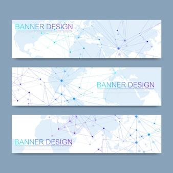 Векторные баннеры набор высокотехнологичных цифровых технологий и инженерного фона. концепция цифровых телекоммуникационных технологий. вектор абстрактный футуристический фон.