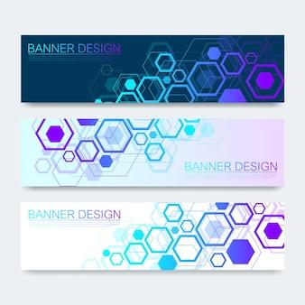 벡터 배너 육각형 배경으로 설정합니다. 하이테크 디지털 기술 및 엔지니어링 배경입니다. 디지털 통신 기술 개념입니다. 진한 파란색 배경에 벡터 추상 미래입니다.