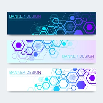 Vector banners set with hexagons background. hi-tech digital technology and engineering background. digital telecom technology concept. vector abstract futuristic on dark blue color background.