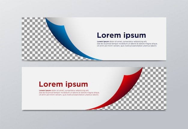 Vector banners with red and blue rectangles.