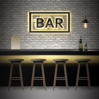 Vector bar, pub interior with brick walls, counter, chairs, bottles of alcohol,menu, illuminated signboard and lamp