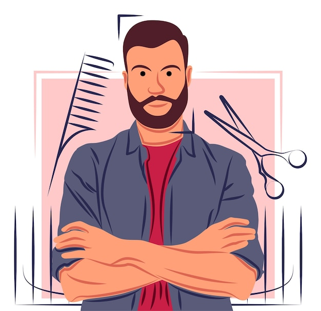 Vector barber in shadow of sharp lines style