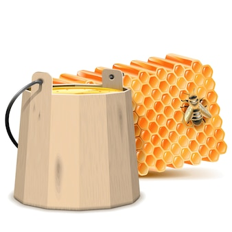 Vector barrel with honeycombs isolated on white background