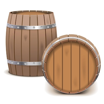 Vector barrels isolated on white background