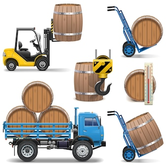 Vector barrels shipping icons isolated on white background