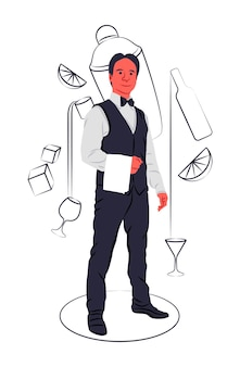 Vector bartender in shadow of sharp lines style