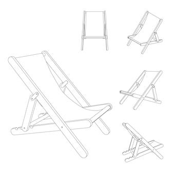 Vector beach lounge chaise chair