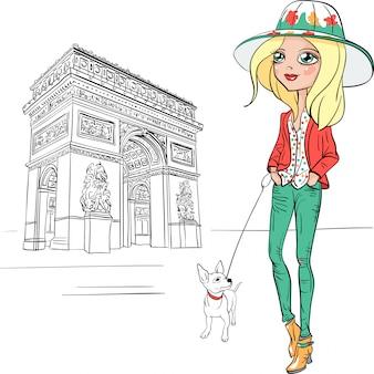 Вектор красивая модная девушка в париже