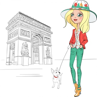 Vector beautiful fashion girl in paris