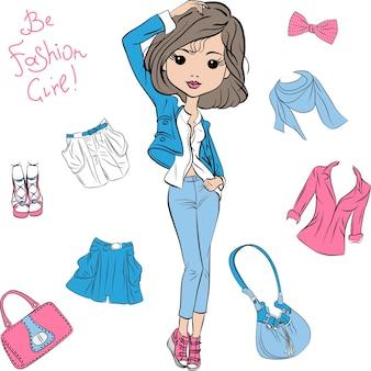 ベクトルの美しいファッションの女の子のトップモデル